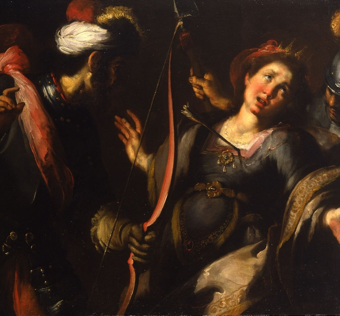 Bernardo Strozzi, The Martyrdom of Saint Ursula, oil on canvas, 104 x 130 cm, Milan, Gallerie d'Italia, on loan from the Koelliker collection, courtesy Robilant+Voena
