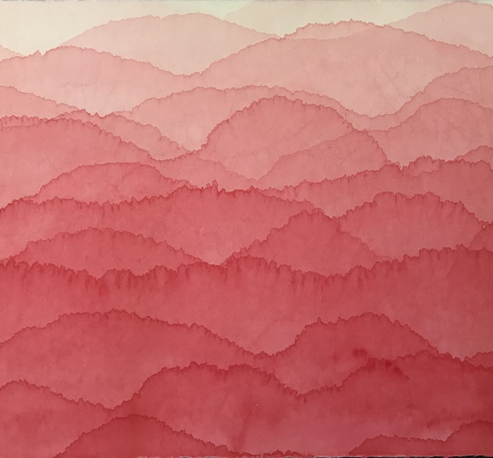 Minjung Kim (b. 1962), 'Red Mountain', 2018, Ink and watercolour on mulberry Hanji paper, 70 x 90 cm